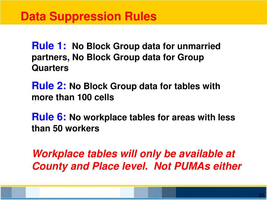 Data Suppression Rules