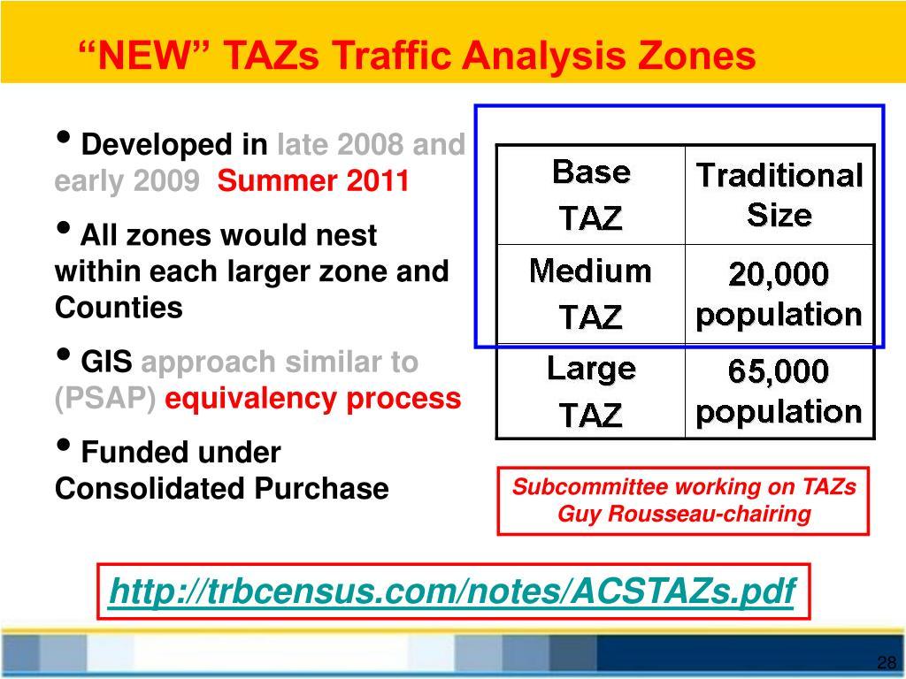 """""""NEW"""" TAZs Traffic Analysis Zones"""