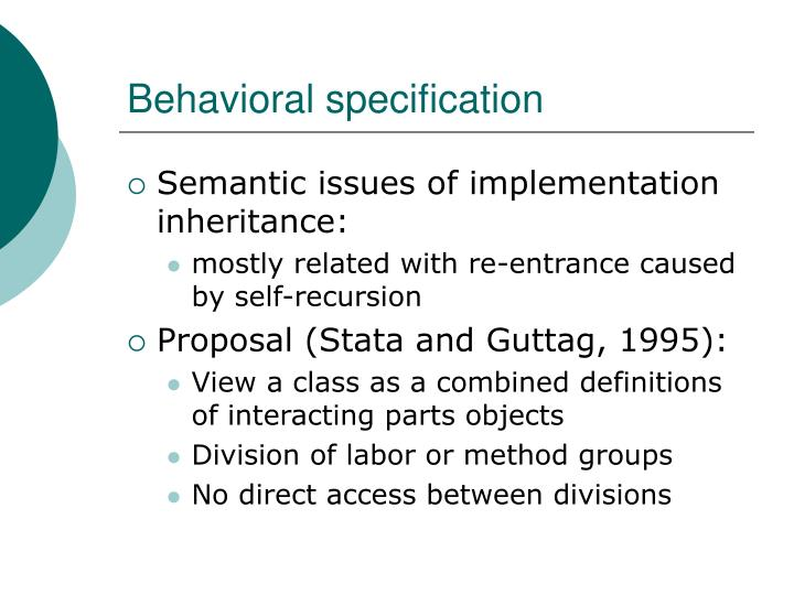 Behavioral specification