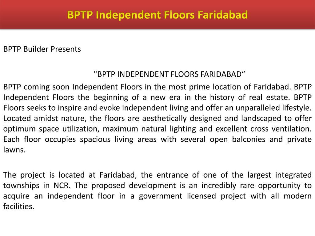 BPTP Independent Floors Faridabad