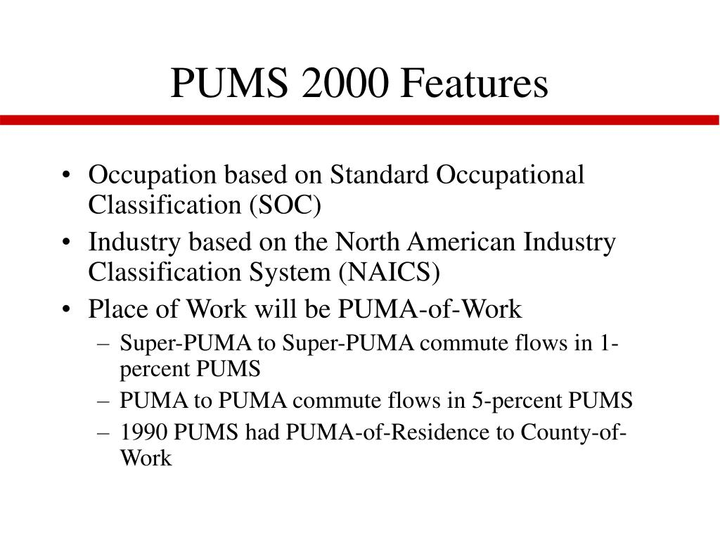 PUMS 2000 Features