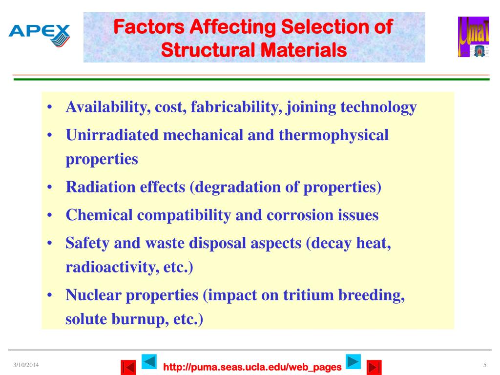 Factors Affecting Selection of Structural Materials
