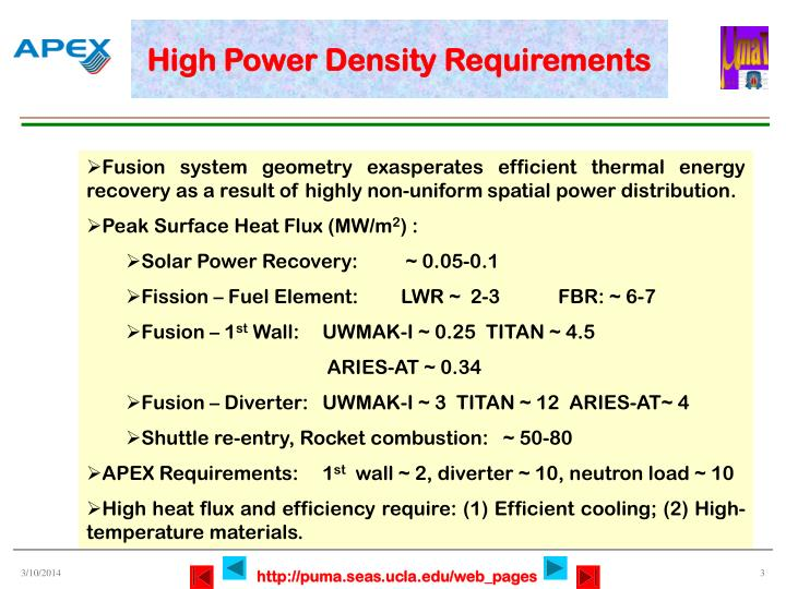 High power density requirements