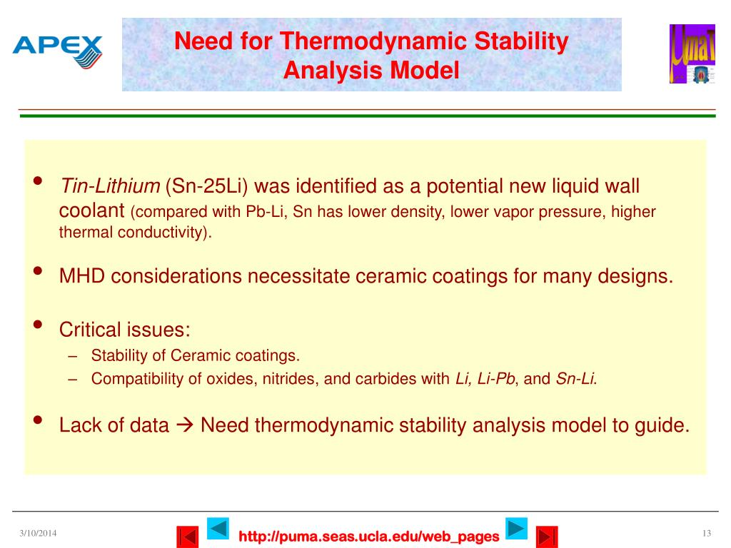 Need for Thermodynamic Stability Analysis Model