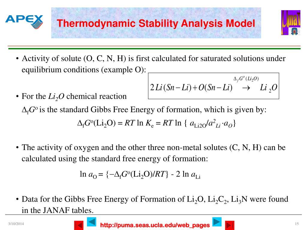 Thermodynamic Stability Analysis Model