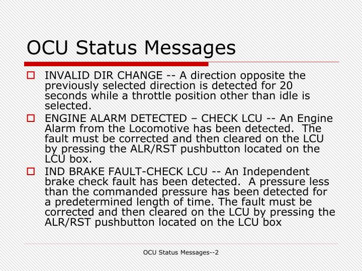 OCU Status Messages
