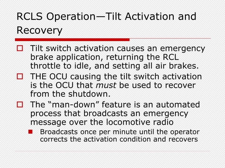 RCLS Operation—Tilt Activation and Recovery