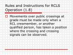 rules and instructions for rcls operation 1 8