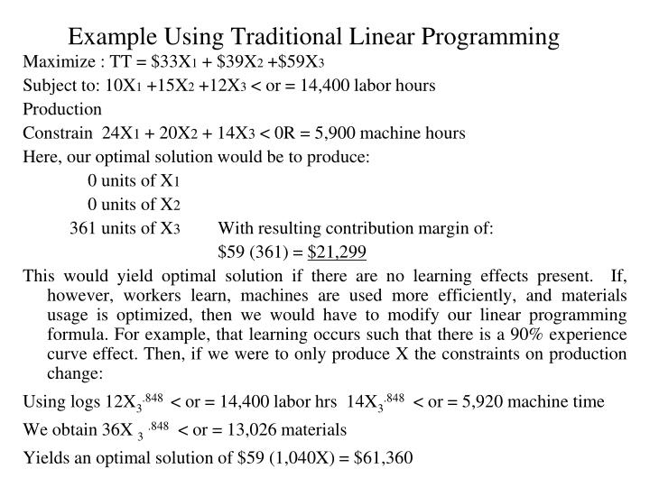 Example Using Traditional Linear Programming