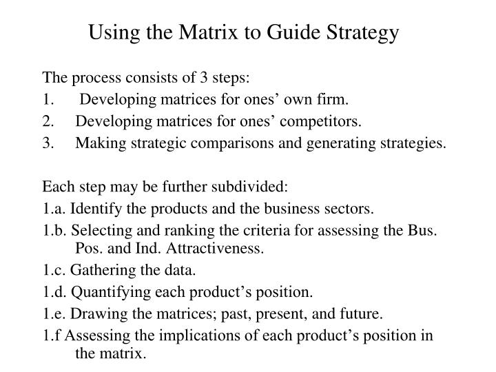 Using the Matrix to Guide Strategy