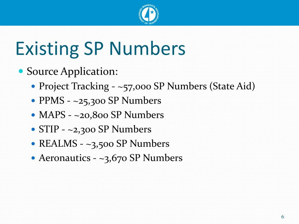 Existing SP Numbers