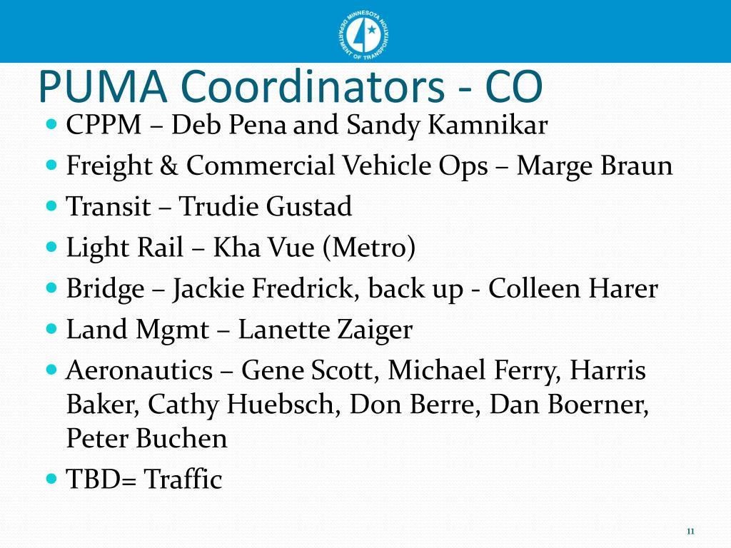 PUMA Coordinators - CO