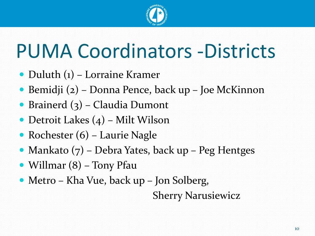 PUMA Coordinators -Districts