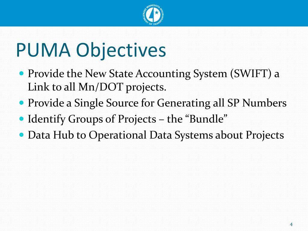 PUMA Objectives