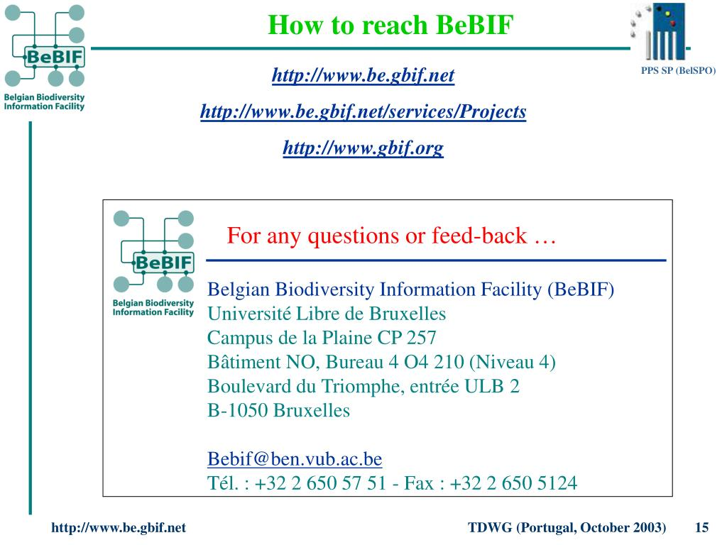 How to reach BeBIF