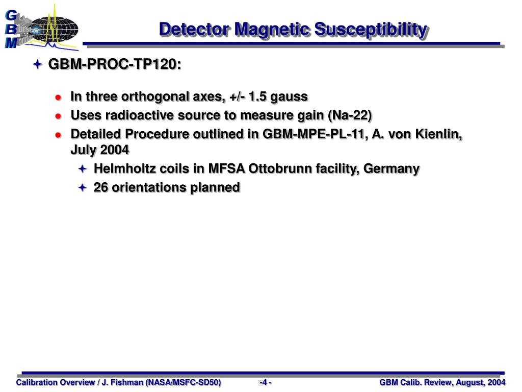 Detector Magnetic Susceptibility