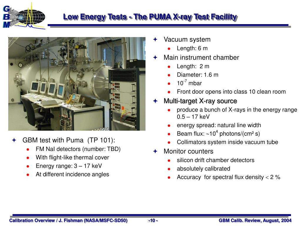 Low Energy Tests - The PUMA X-ray Test Facility