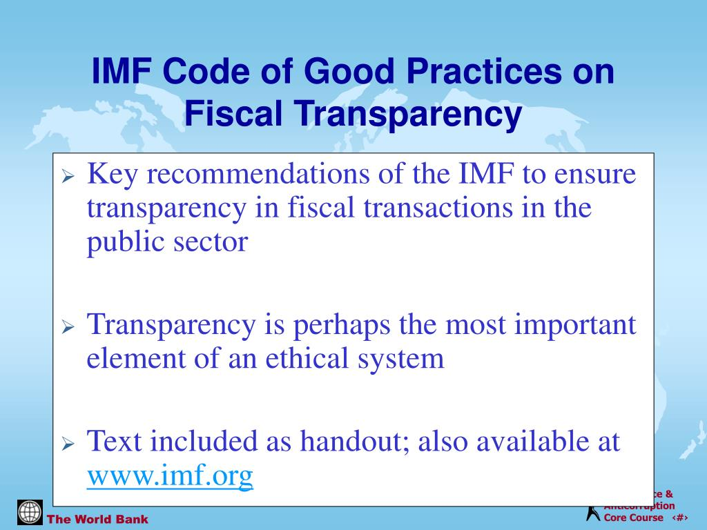 Key recommendations of the IMF to ensure transparency in fiscal transactions in the public sector
