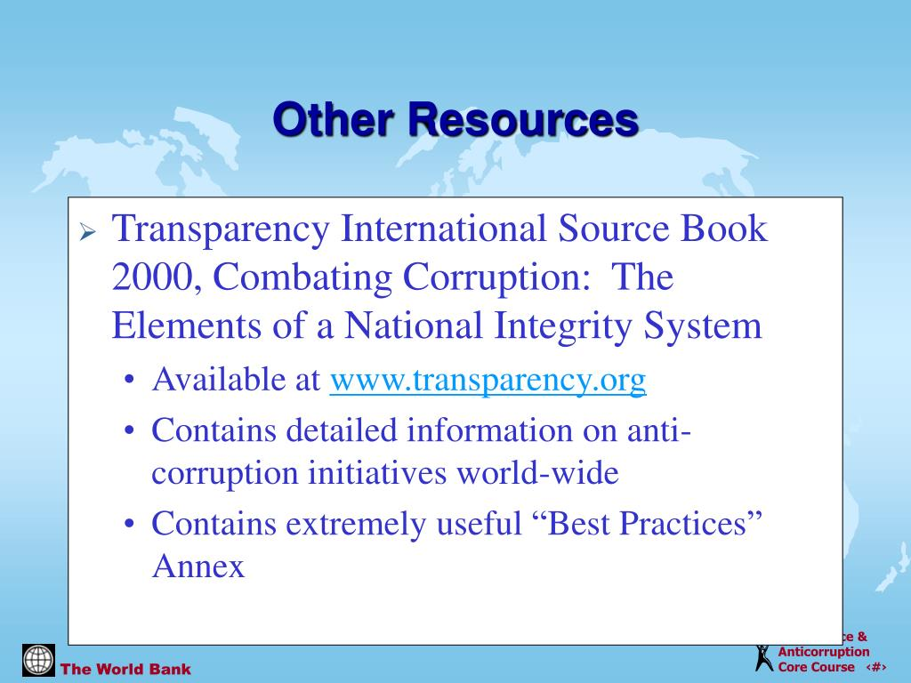 Transparency International Source Book 2000, Combating Corruption:  The Elements of a National Integrity System