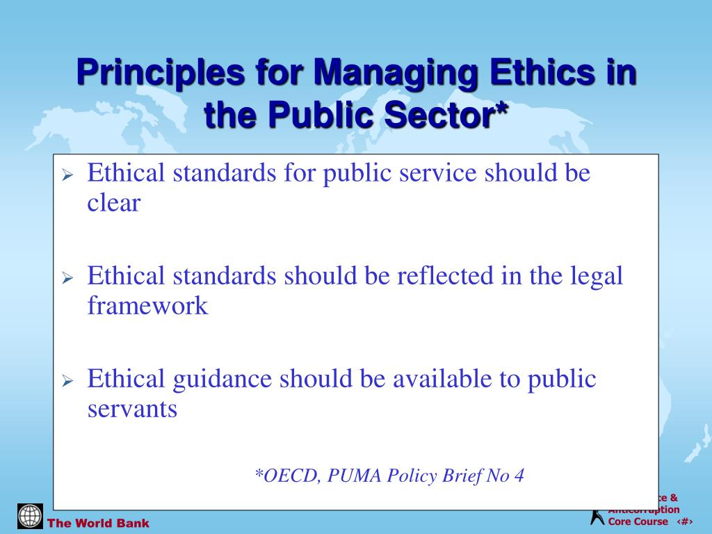 Ethical standards for public service should be clear
