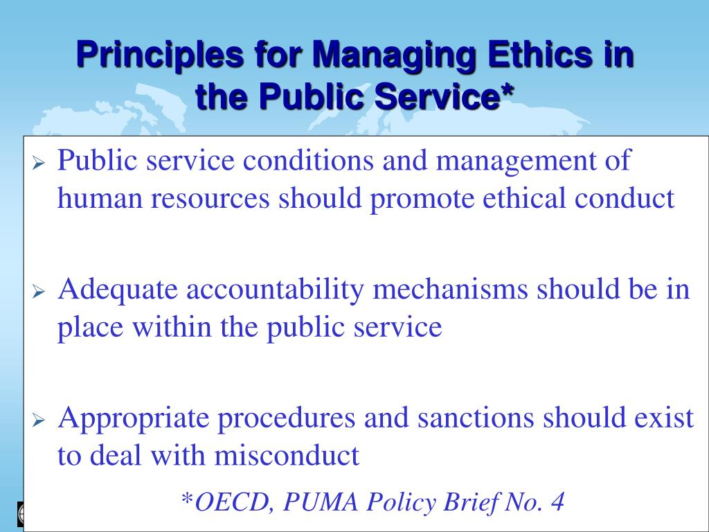Public service conditions and management of human resources should promote ethical conduct