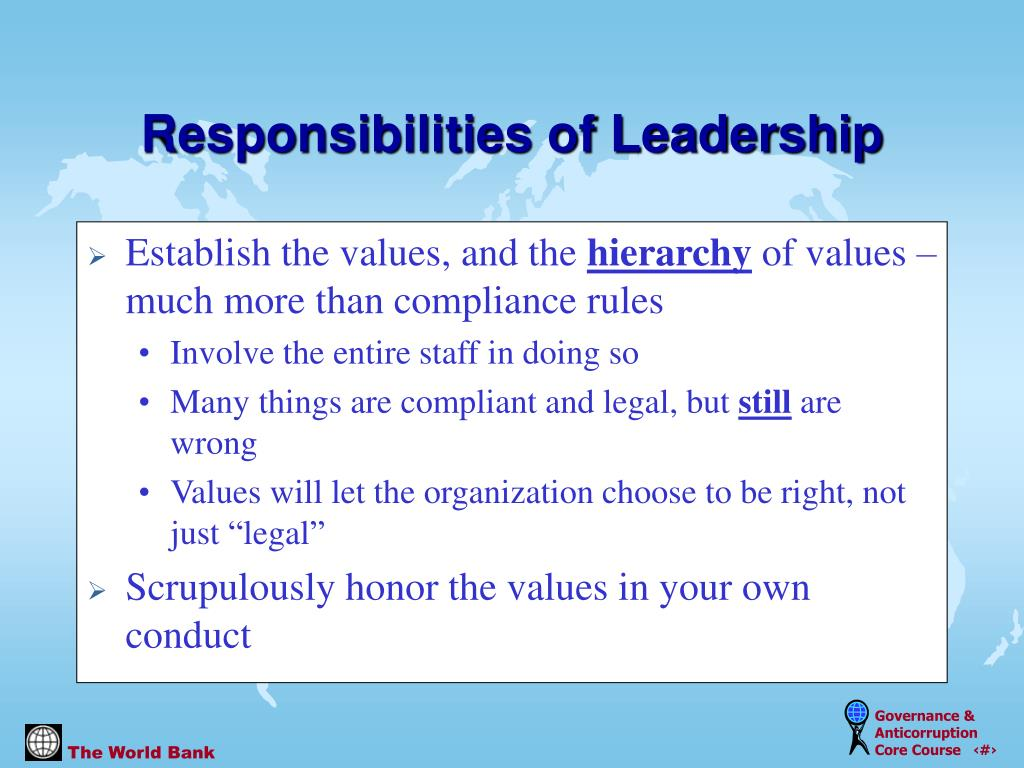 Establish the values, and the