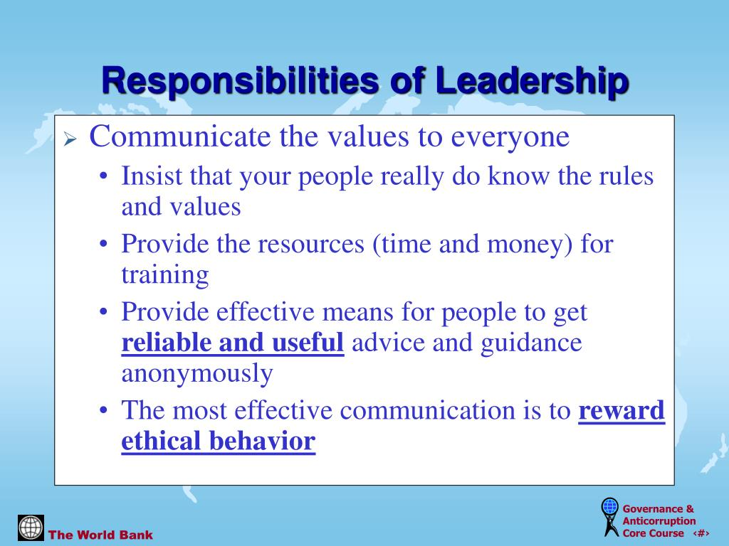 Communicate the values to everyone