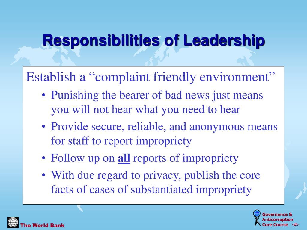 "Establish a ""complaint friendly environment"""