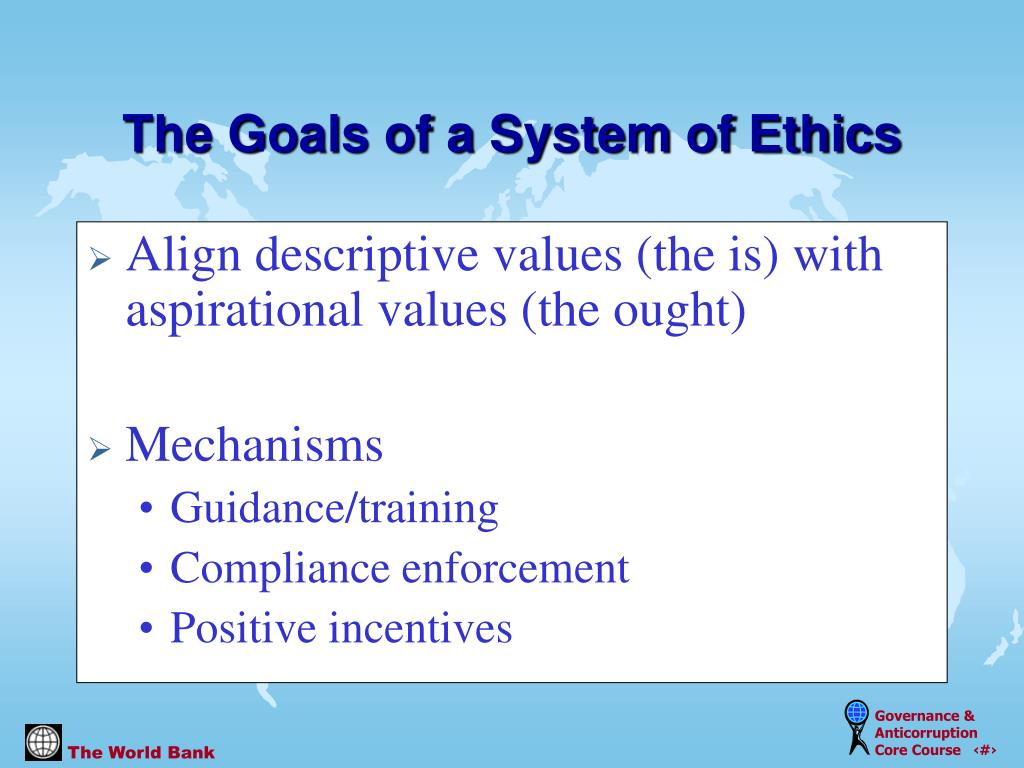Align descriptive values (the is) with aspirational values (the ought)