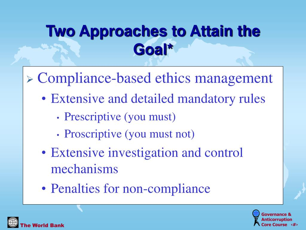Compliance-based ethics management