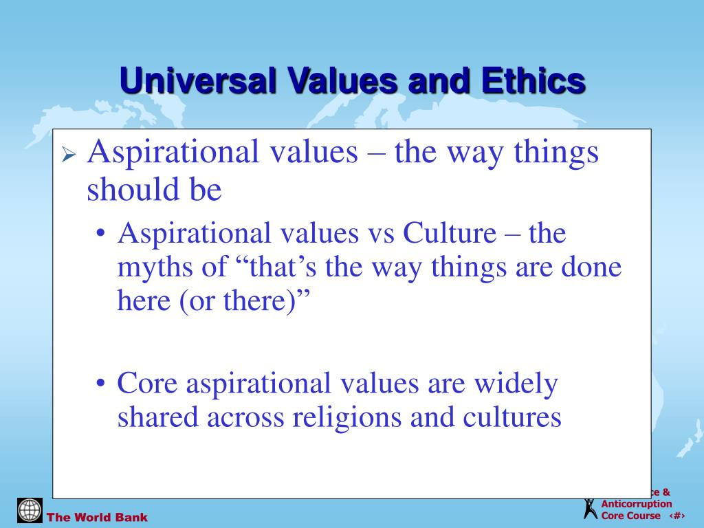 Aspirational values – the way things should be