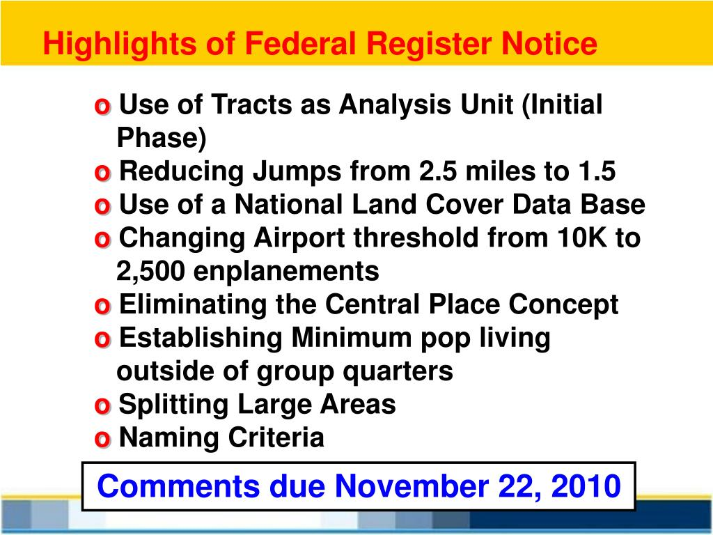 Highlights of Federal Register Notice