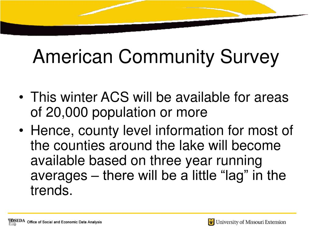 This winter ACS will be available for areas of 20,000 population or more