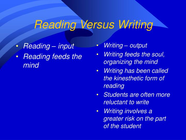 Reading versus writing