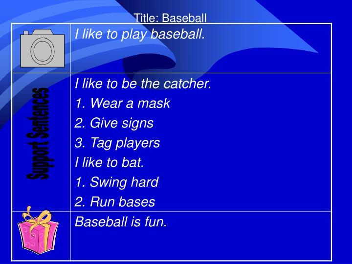 Title: Baseball