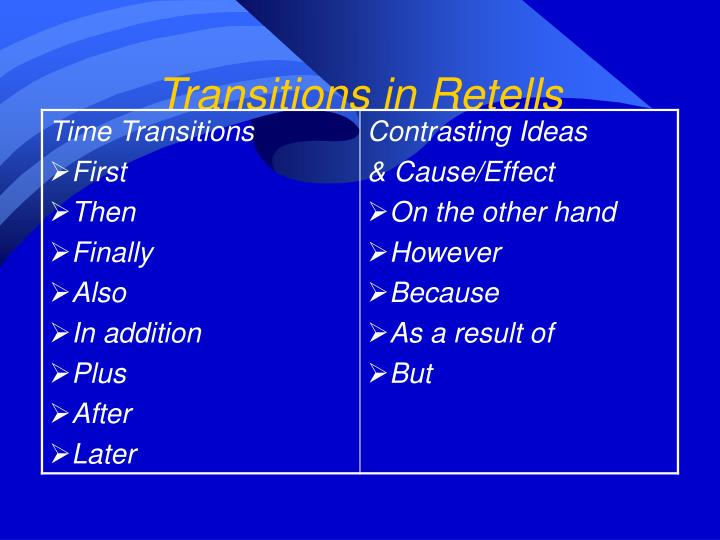 Transitions in Retells