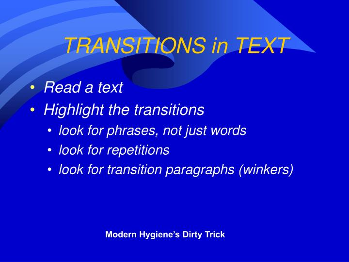 TRANSITIONS in TEXT
