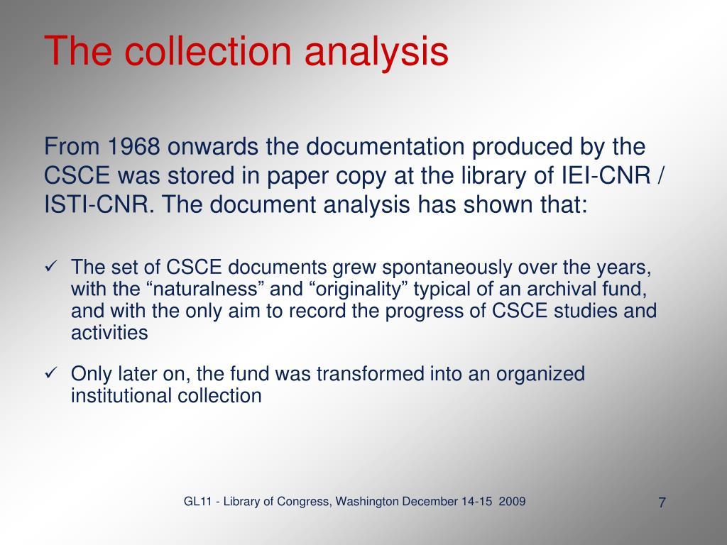 The collection analysis