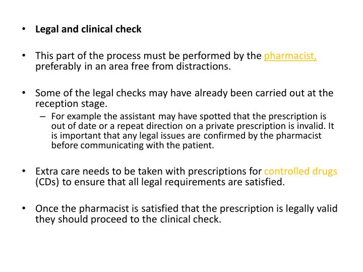 Legal and clinical check