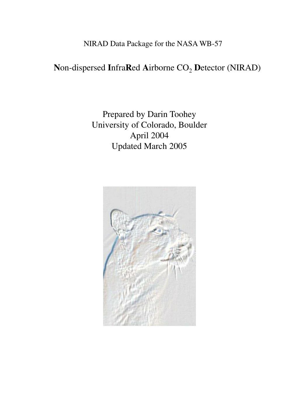 NIRAD Data Package for the NASA WB-57