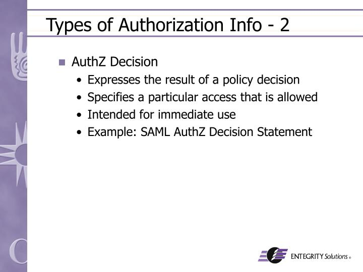 Types of Authorization Info - 2