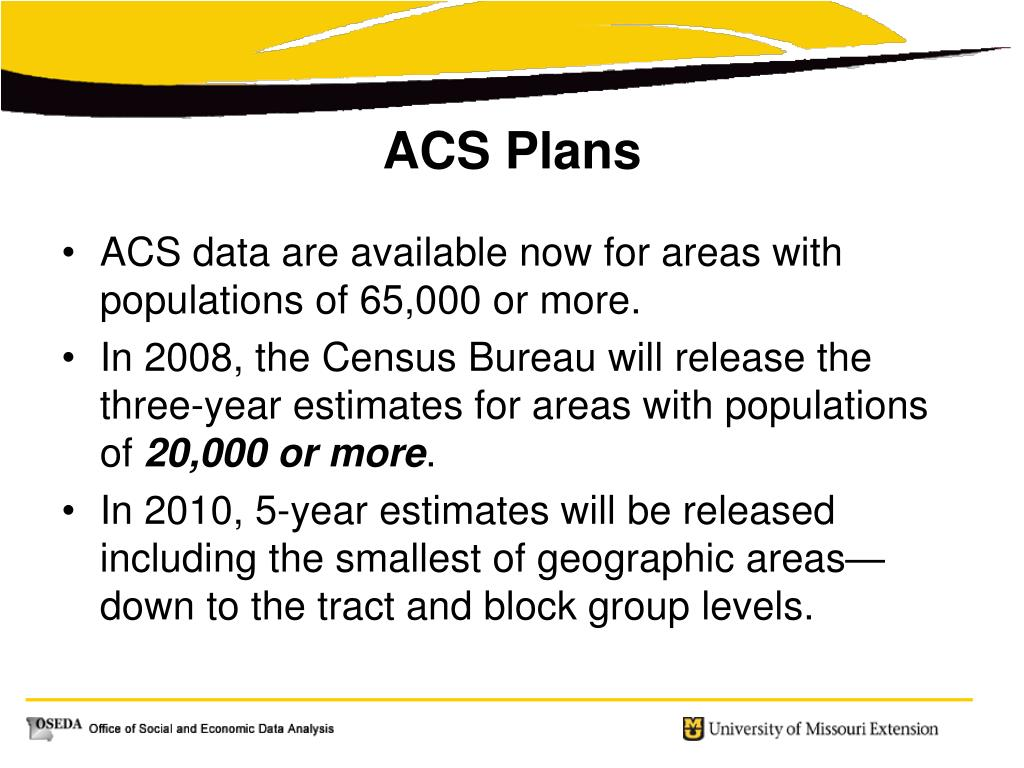 ACS data are available now for areas with populations of 65,000 or more.
