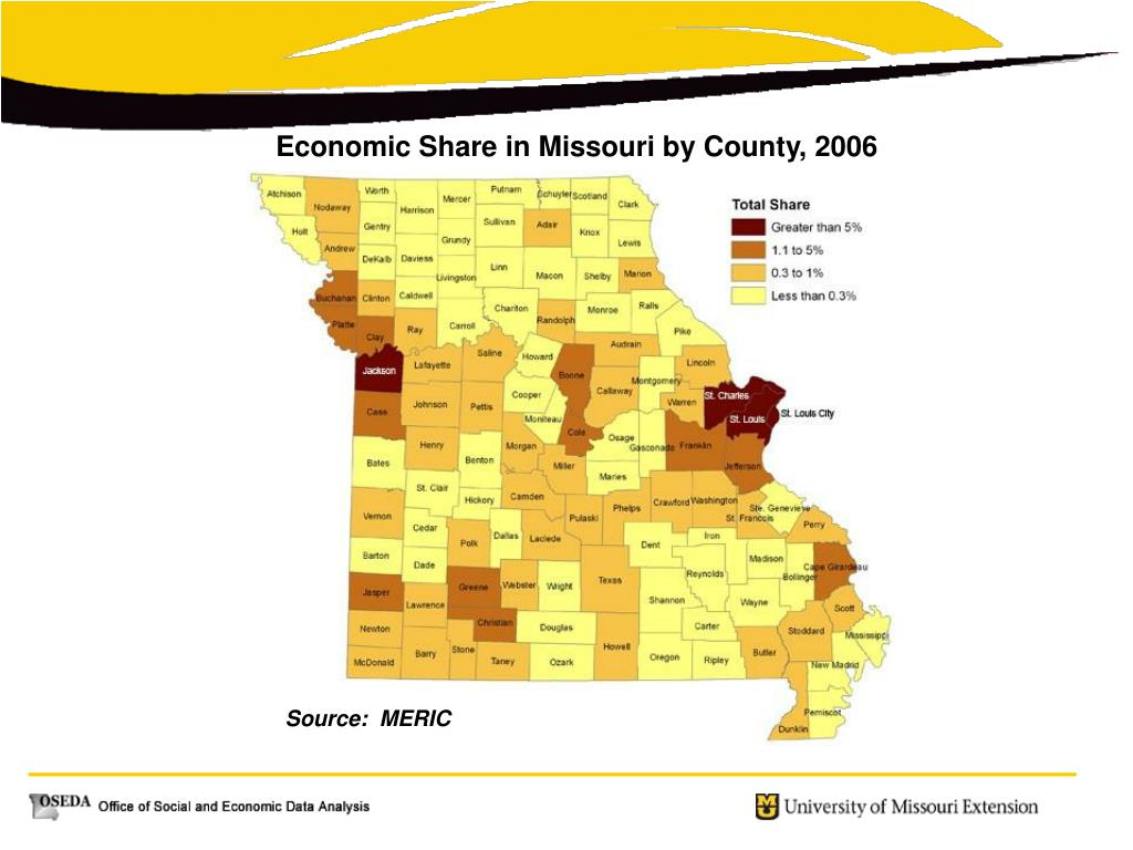 Economic Share in Missouri by County, 2006