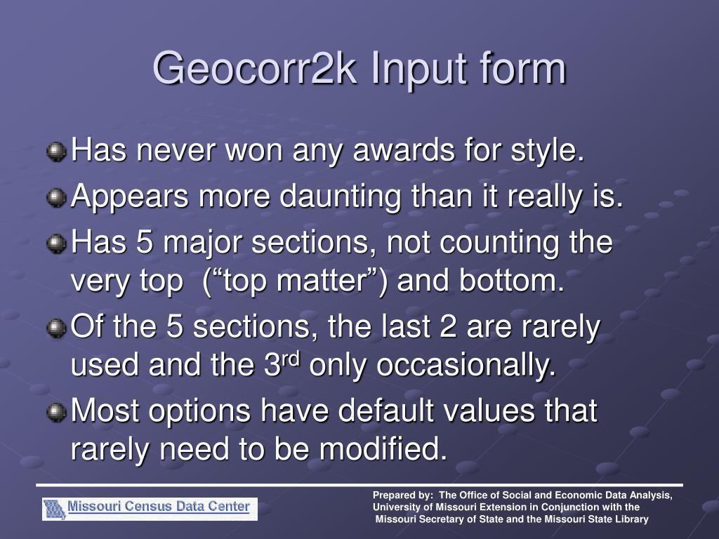 Geocorr2k Input form