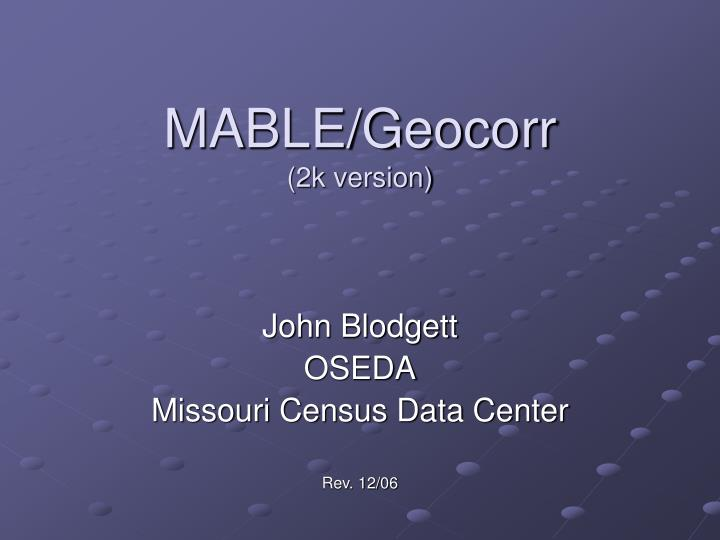 Mable geocorr 2k version