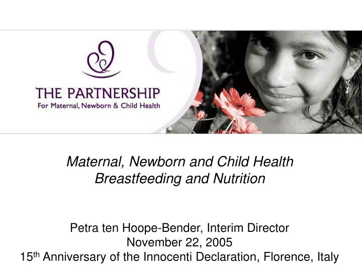 Maternal, Newborn and Child Health