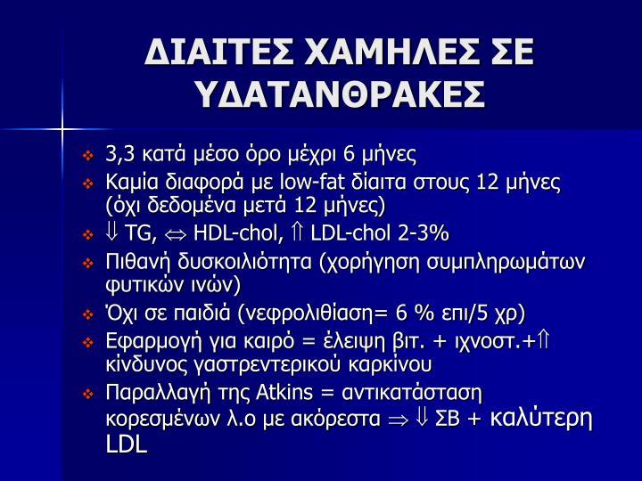 ΔΙΑΙΤΕΣ ΧΑΜΗΛΕΣ ΣΕ ΥΔΑΤΑΝΘΡΑΚΕΣ