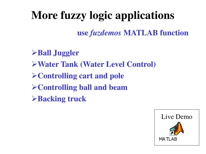 More fuzzy logic applications