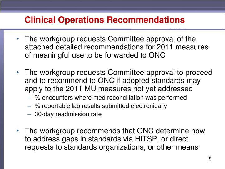 Clinical Operations Recommendations