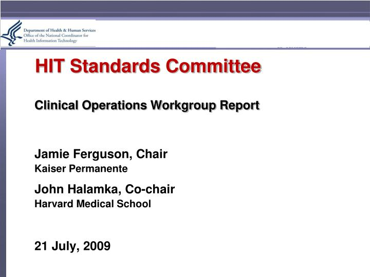 Hit standards committee